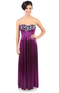 silky strapless #prom #dress with chunky stone accents  $132.50