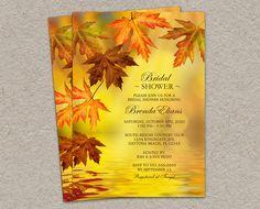 DIY Printable Fall Bridal Shower Invitation With Falling Leaves by iDesignStationery, $11.95 #Wedding #Fall #BridalShower #Etsy