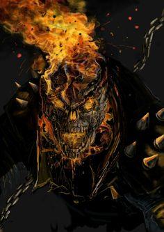 Ghost Rider By Devilman Ghost Rider Wallpaper, Skull Wallpaper, Marvel Wallpaper, Graffiti Wallpaper, Ghost Rider 2, Ghost Rider Marvel, Marvel Comics Art, Marvel Comic Universe, Arte Horror