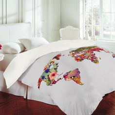 LOVE THIS for a travel themed guest room!!!  Bianca Green Its Your World Duvet Cover - DENY Designs.