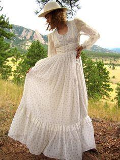 70s Gunne Sax Boho Wedding Dress - vintage bohemian hippie cotton ...