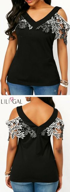 Lace Patchwork V Neck Cold Shoulder Blouse #liligal #top #blouse #shirts #tshirt