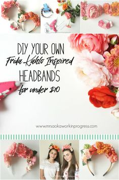 Get Your Frida On with this DIY Frida Kahlo Inspired Flower Headband I'm a huge Frida fan! I love her art and her message of strength. I also love her flower crown headbands.Today we're making DIY Frida Flower Crown Headbands Diy Flower Crown, Flower Crown Headband, Diy Crown, Diy Headband, Flower Headpiece, Floral Headbands, Flower Crowns, Ribbon Flower, Flower Fabric