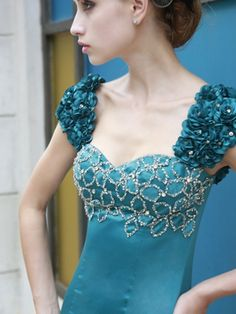 Floor Length Hunter Short Sleeve Sweetheart Evening Dress