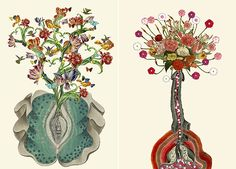 Anatomical Collages beautiful collages, by artist Travis Bedel, merge anatomical imagery with illustrations from vintage etchings from science guides and textbooks