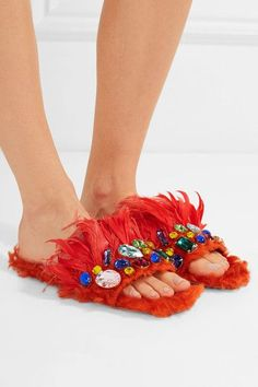Miu Miu - Crystal-embellished Shearling And Feather Slides - Bright orange - IT36.5