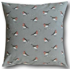 Cushion Cover made with Sophie Allport Robin Bird Red Grey Covers - All Sizes Grey Throw Pillows, Throw Pillow Covers, Robin Bird, Cover Gray, Red And Grey, Cushion Covers, Lovely Things, Breast, Cushions