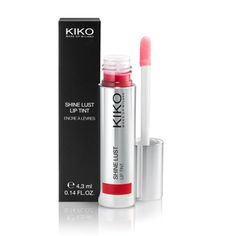 Shine Lust Lip Tint - KIKO Make Up Milano. Absolutely love this - have purchased in 3 colors! Shiny like a gloss but nowhere near as tacky; stays put and doesn't stain my teeth. My favorite shade is the punchy coral, but the red is also delicious.