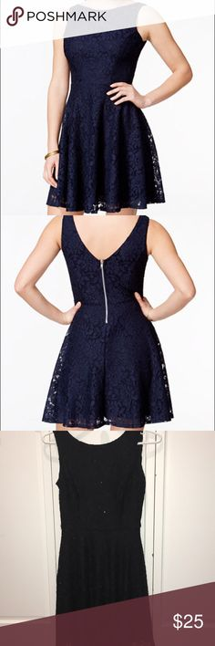Speechless High Neck Skater Dress Shimmery lace skater dress with a high neck actual item is black not navy great condition, only worn once fits sizes 0-2 or XS comment for more details! Speechless Dresses Mini