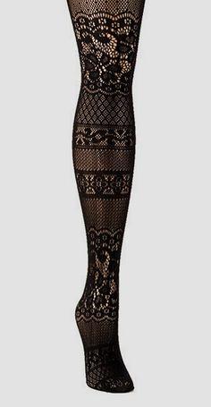 Black Floral Patch Fishnet Tights