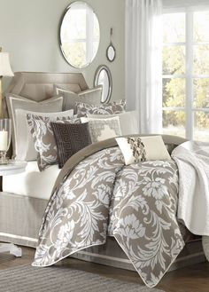 Hampton Hill Bellville Bedding Collection / Weight & Dimensions: Item: Bellville Comforter Set Dimensions: Unavailable Weight: 26 lbs Additional Features: Other: Additional Sizes, Quick Shipping Product Category: Bedding Sets Sa Bedroom Bed, Dream Bedroom, Bedroom Decor, Bedroom Ideas, Taupe Bedroom, Bedroom Photos, Master Bedrooms, Bed Room, Bedroom Comforters