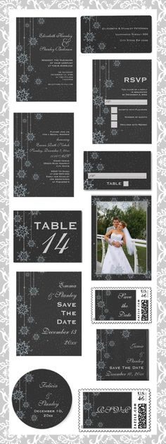 #Crystal hanging #snowflakes on #charcoal #grey #custom #winter #wedding #invitations and matching #stationery.  #weddings, #bride, #invites, #winterwedding  See more designs http://www.zazzle.com/weddings_?rf=238228936251904937=zBookmarklet