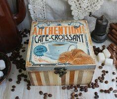 """""""Coffee - croissants"""" короб - коричневый,голубой,кофе,кофейный,круассан"""