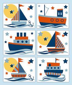 Arte de pared de velero estampados para la decoración de habitación de marinero bebé niño barco náutica guardería o de los niños. Añadir calcomanías de frontera de fondos correspondiente. Una compra incluye 6 todas las impresiones. ** Disponible en 11 x 14 y 13 x 19 tamaño. Por favor