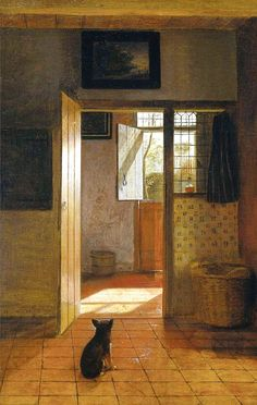 Pieter de Hooch, Mother Task (dog detail), ca.1658 -1660