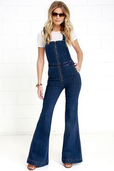 Rollas Eastcoast Dark Wash High-Waisted Denim Flare Overalls