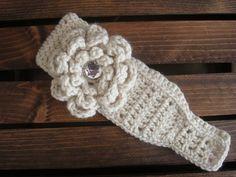 Cream Crocheted Earwarmer/ Winter Headband with by BabyofftheHook
