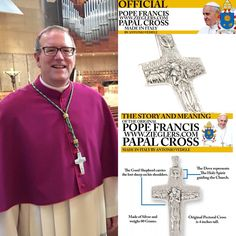 Soon to be ordained Bishop Robert Barron with his Pope Francis Papal Pectoral cross following after the Holy Father!