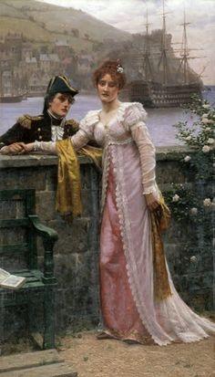 """""""Adieu"""", 1901 ~ Edmund Blair Leighton (1853-1922) - Regency period theme"""