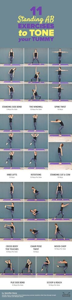 Tone and strengthen your tummy anywhere with these easy standing ab exercises! T