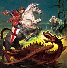saint george | Saint George rescues the princess by slaying the dragon