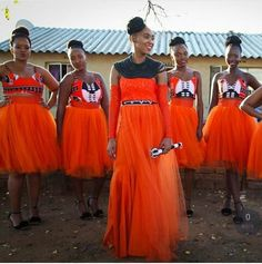 Orange tulle plus Ankara wedding African Wedding Dress, African Print Dresses, African Dress, African Weddings, African Prints, African Attire, African Wear, African Women, African Fashion