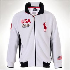Polo Ralph Lauren Fleece USA White Men Big Pony Jacket  http://www.ralph-laurenoutlet.com/