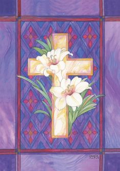 Toland Home Garden Lily and Cross x 18 Inch Decorative Stained Glass Easter Flower Garden Flag Crosses Decor, Flag Decor, Outdoor Flags, Outdoor Art, Cross Flag, Cross Quilt, Cross Art, Easter Flowers, Yarn Flowers