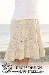 """Strikket DROPS nederdel med flæsekant i """"Bomull-Lin"""". Str S - XXXL. ~ DROPS Design"""