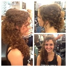 Natural curly hair swept to the side Wedding hair by Joni PintereCurls Pinned To One Side | Fashion Sytle