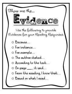 Key words to provide evidence