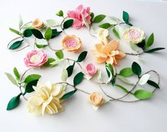 Felt Flower Garland CUSTOMIZABLE Felt flower by MagentaGinger