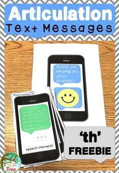 Articulation of voiceless 'th' in initial, medial, and final positions of words in read sentences and at the conversational level with a motivating cell phone/technology theme. Perfect speech therapy activity for older students.