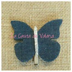 Horquilla mariposa en tela vaquera y glitter, complementos niñas. www.lacasitadevaleria.es
