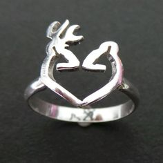 Carved buck and doe promise ring