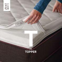 Guter Schlaf trägt zu einem gesunden und aktiven Leben bei. Ein Höchstmaß an Komfort in der Nacht bieten Topper, zusätzliche Matratzenauflagen. Sie machen allerdings nicht bloß unseren Schlaf angenehmer, sondern schützen die Matratze und sorgen dank atmungsfähiger Materialien für optimale Durchlüftung. #aupingde #neu #aupingabc #topper #schlafkomfort #boxspringbetten #betten #matratzen Mattress, Komfort, Cool Beds, Bed Mattress, Bed Covers, Overlays, Night, Mattresses