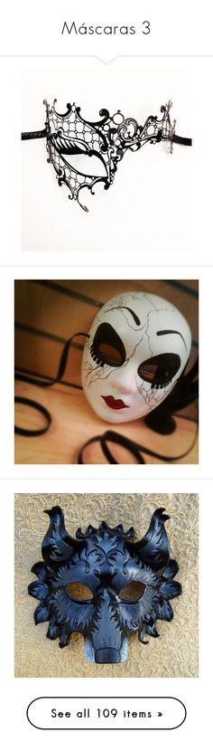 """""""Máscaras 3"""" by beatriz-ceifadora ❤ liked on Polyvore featuring costumes, masks, accessories, masquerade halloween costume, ball halloween costumes, vintage halloween costumes, ball costume, masquerade costume, wolf halloween costume and leather costumes"""