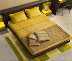 Yawn Into Yellow   This bed needs a foot board or a bench at the foot.