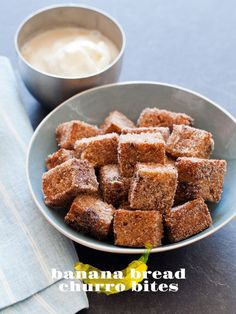 Banana Bread cut into cubes and fried, served with an ice cream dipping sauce.