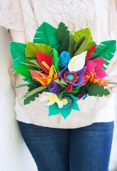 Felt Flower Tropical Bouquet Tropical by SugarSnapBoutique