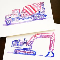 Concrete mixer + excavator + pink-purple color scheme = cool truck watercolor art for girls! (And guys who like pink and purple, too!) These paintings are made to order, so personalize them as a unique gift for your favorite truck lover!