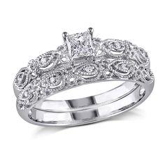 Delmar Jewelers 10K White Gold 0.33ctw Princess-Cut and Round White Diamond Bridal Set