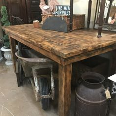 Rustic Table / Island #antiquekitchen #farmhouse #rusticisland #rustictable #vintagehome #vintagekitchen Primitive Kitchen, Primitive Furniture, Rustic Table, Vintage Kitchen, Sweet Home, Dining Table, Farmhouse, Island, Needful Things