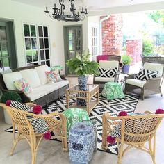 Porch is ready! Now, if those pesky thunderstorms will stay away! ☁️☔️. Can't wait to celebrate @hannah_vm  #scenesaroundElevenGables #BHGLiveOutdoors #lillyfortarget #potterybarn #ikea