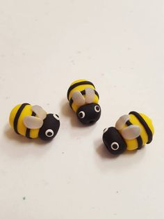Polymer Clay Bumble Bee Beads/ Set Of Three/ by BoofoloBeads