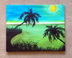 """Original """"Algae Night"""" abstract painting. Palm trees sway in the wind as the sun sets. By Art Room 278 Easy to hang. Size 20 x 16"""