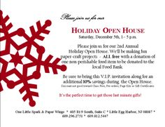 Snowflake On Red Holiday Open House Invitation Open House