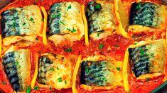 Salvează această rețetă pentru când se mănâncă pește, e delicioasă – macrou cu lămâie în sos de roșii la cuptor. - savuros.info Romanian Food, Sauce Tomate, Four, Fresh Rolls, Vegetable Pizza, Sushi, Seafood, Recipies, Food And Drink