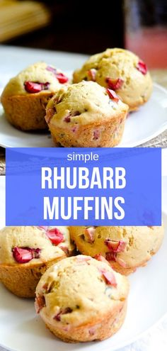 Rhubarb Muffins - Recipe Diaries - Cakes, Cupcakes, and MuffinsWhen life gives you rhubarb make rhubarb muffins! Healthy Rhubarb Recipes, Rhubarb Desserts, Banana Bread Recipes, Muffin Recipes, Easy Desserts, Baking Recipes, Dessert Recipes, Rhubarb Bread, Rhubarb Cake