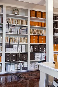 Organization System Thatu0027s Color Coded (and Is So Grand It Requires A  Ladder! Via Lonny. Home Office. Home Decor And Interior Decorating Ideas.  Built In ...